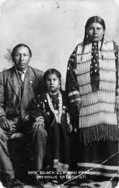 Black Elk with wife and daughter, c. 1890-1910
