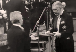 William Faulkner accepting the Nobel Prize in Literature, 1950 (Source: www.emersonkent.com)